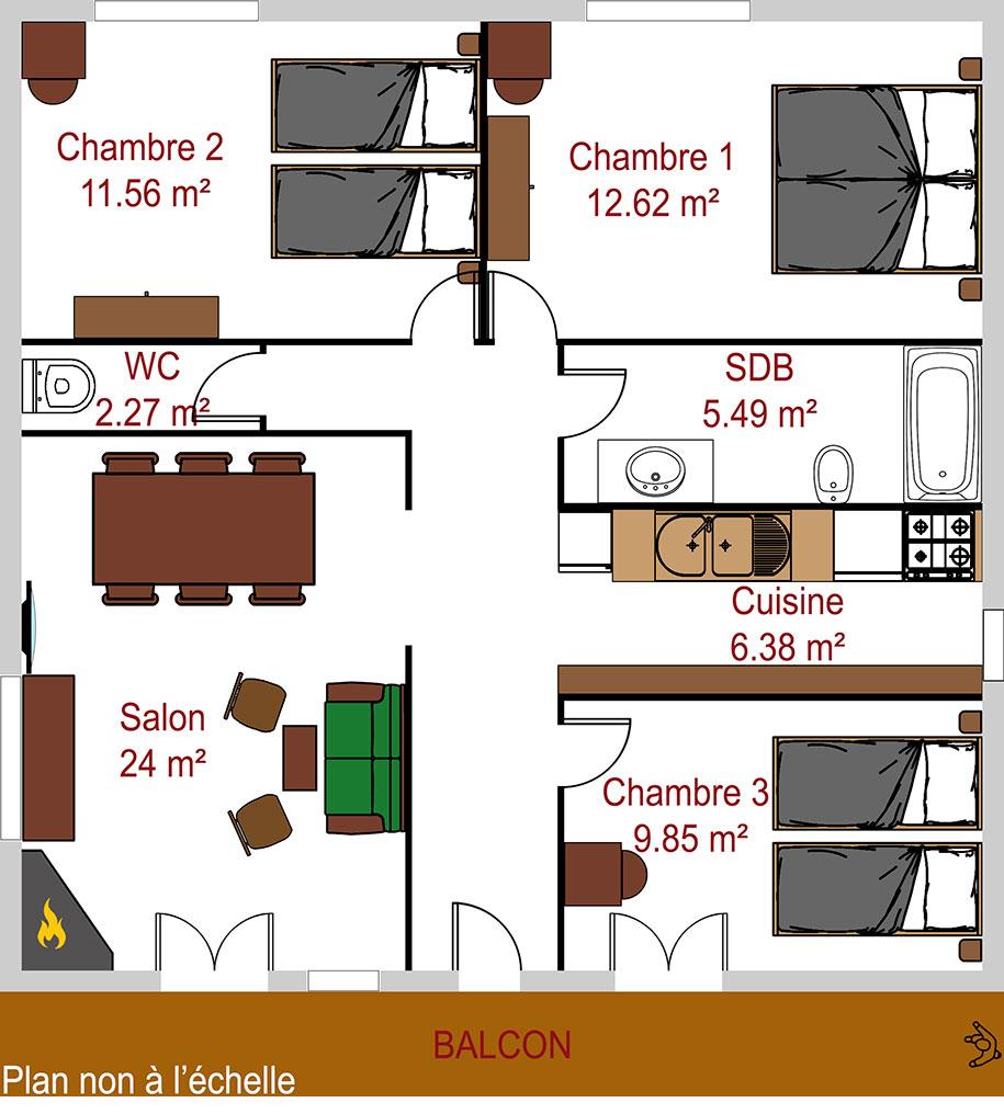 Plan appartement La Pointe du Jour