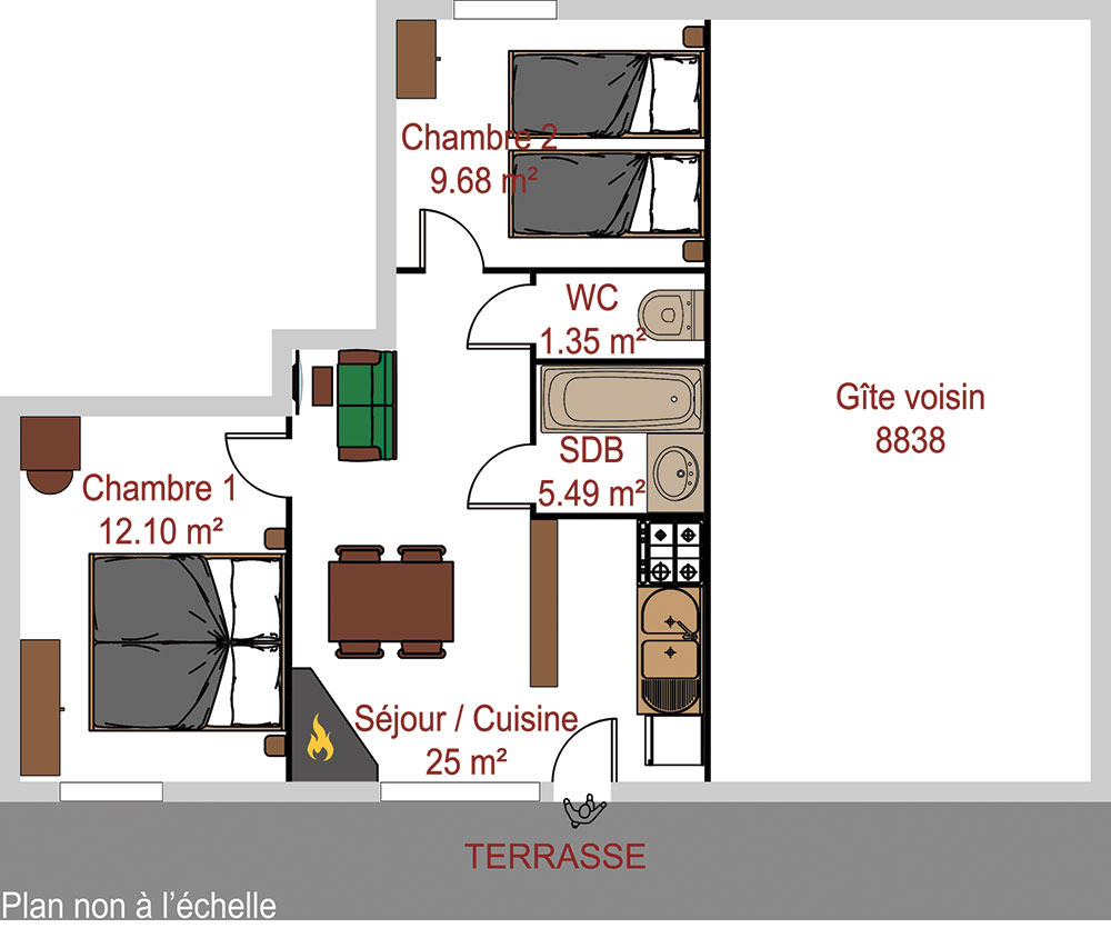 appartement meubl en location saint v ran pour 4 personnes locations. Black Bedroom Furniture Sets. Home Design Ideas